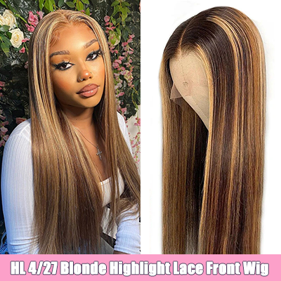 Brown Blonde Highlight Wig Ombre Lace Front Wigs 13x4 Straight Lace Frontal Human Hair Wigs For Women