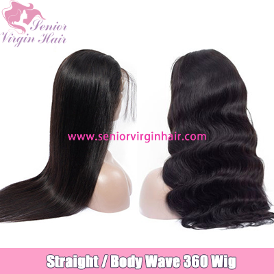 360 Lace Wig 150% Density Body Wave Long Straight Virgin Human Hair Front Lace Wig