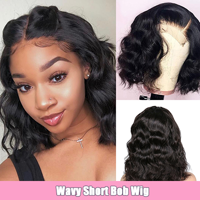 Wavy Short Bob Wigs 13*4 Lace Front Human Hair Wigs For Black Women Pre Plucked Wigs With Baby Hair Body Wave