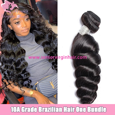 Senior Virgin Hair Brazilian Loose Wave Bundles 100% Virgin Human Hair Weave Unprocessed
