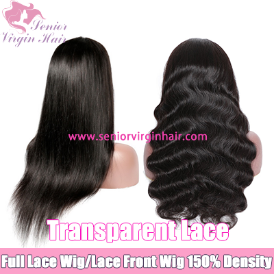 Transparent Lace Human Hair Wig Pre Plucked Hairline Full Lace Wig Lace Front Wig