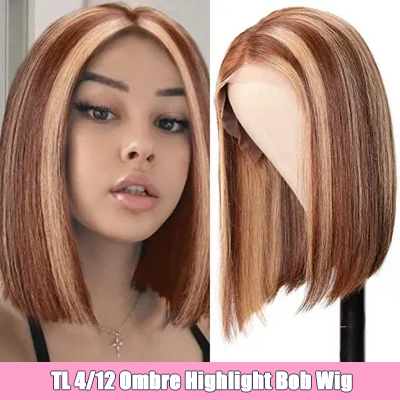 Highlight Short Bob Lace Frontal Wig Human Hair 13x4 150% Density Natural Hairline Pre-plucked Ombre Bob Lace Front Wigs