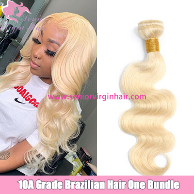 10A Grade 100% Virgin Human Hair Platinum Blonde #613 Body Wave Bundles