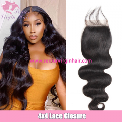 Natural Color Body Wave 4x4 Closure 100% Virgin Human Hair Swiss Lace Closure