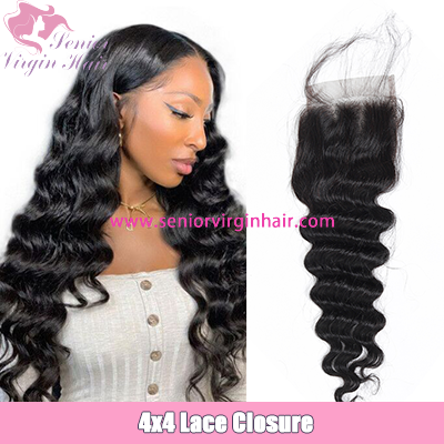 Brazilian Loose Deep Wave 4*4 Lace Closure Swiss Lace Closure With Baby Hair