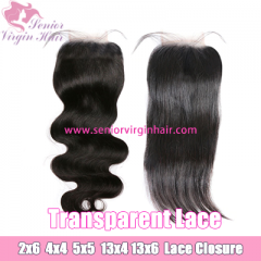 Transparent HD Swiss Lace Closure Lace Frontal Pre-Plucked With Baby Hair 100% Brazilian Human Hair Straight Body Wave