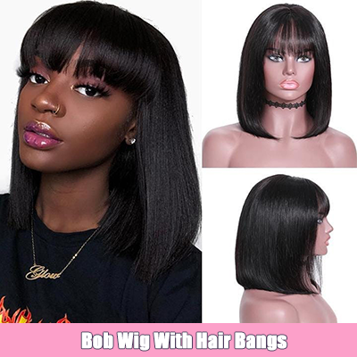 Lace Front Bob Wigs Human Hair Wigs With Bangs For Black Women 13×4 Short Human Hair Wigs
