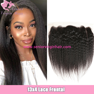Brazilian Lace Frontal 13*4 Kinky Straight Yaki Ear to Ear Frontals Preplucked With Baby Hair
