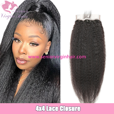 Kinky Straight  Yaki 4*4 Lace Closure Baby Hair Natural Hairline Swiss Lace Closure