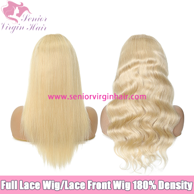 Platinum Blonde #613 Wig 100% Human Hair Full Lace Wig Lace Front Wig