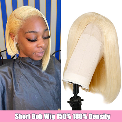 10A Grade Short Bob Lace Wig Blonde #613 Bob Lace Front Wig 100% Human Hair Pre Plucked With Baby Hair