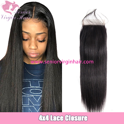 10A Grade Brazilian Hair Silky Straight 4x4 Lace Closure Free/Middle/Three Part Human Hair Closures