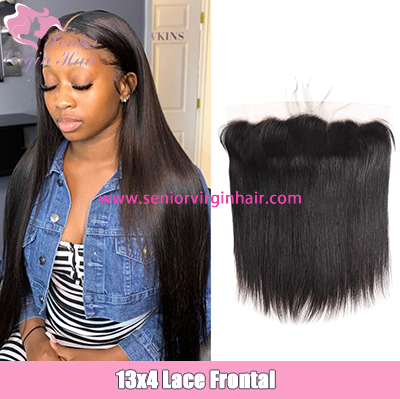 Brazilian Hair Silky Straight 13x4 Lace Frontal Preplucked Baby Hair Human Hair Extensions