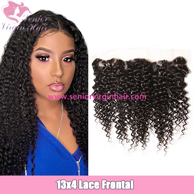 Brazilian Hair Curly 13*4 Lace Frontal Closure Natural Hairline With Baby Hair Unprocessed 100% Human Hair