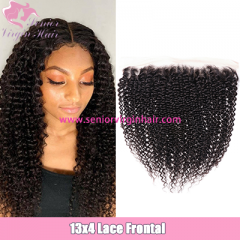 Brazilian Hair 13*4 Lace Frontal Kinky Curly Hair Extensions Ear To Ear Frontals