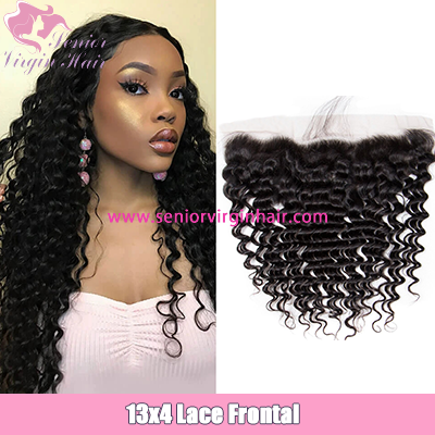 Brazilian Hair Deep Wave 13*4 Lace Frontal Closure 100% Human Hair Ear to Ear Frontals