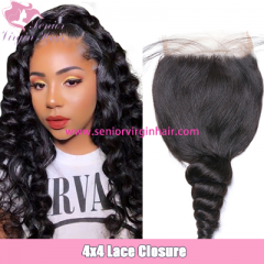 Brazilian Loose Wave 4x4 Closure 100% Human Hair Extensions Swiss Lace Closure