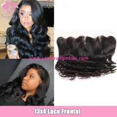 Brazilian Hair 1B Color Loose Wave 13*4 Lace Frontal Preplucked With Baby Hair