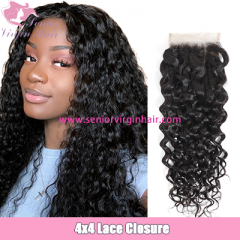 Brazilian Water Wave Lace Closure 4*4 Swiss Lace Closure Natural Hairline
