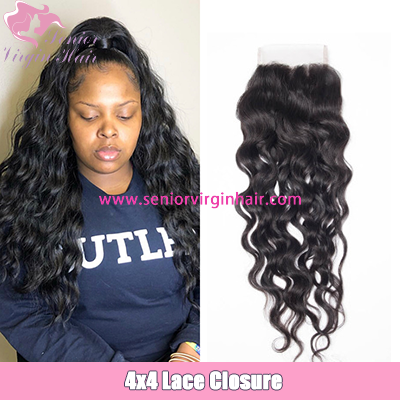 Brazilian Hair Natural Wave 4*4 Lace Closure 100% Human Hair Extensions