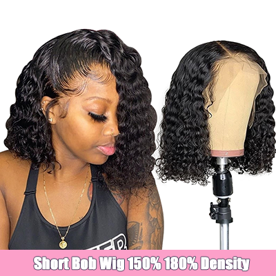 Deep Wave Short Bob Wigs Cheap Bob Human Hair Lace Front Wigs With Baby Hair For Black Women
