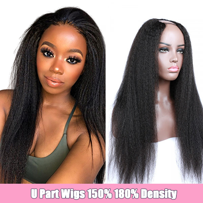 U Part Wig Kinky Straight Hair Cheap Brazilian Human Hair U Part Wigs