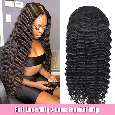 Brazilian 100% Human Hair Wig Deep Wave Lace Front Wig Full Lace Wig