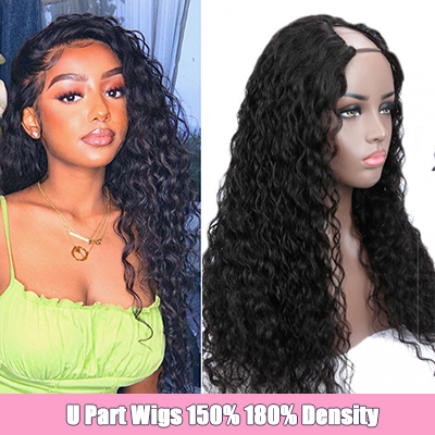 Cheap Water Wave Hair Brazilian U Part Wigs Curly Human Hair Wigs For Women