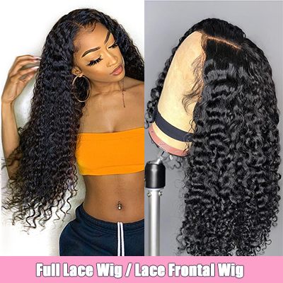 Brazilian 100% Human Hair Wig Deep Curly Lace Front Wig Full Lace Wig