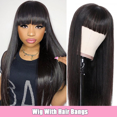 Straight Affrodable Human Hair Wigs With Bangs High Quality Made Made Wigs