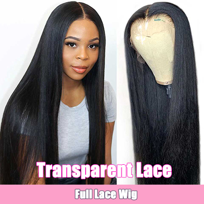 Transparent Lace Pre Plucked Full Lace Wigs Straight Human Hair Wigs On Sale