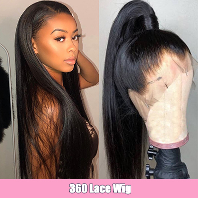 Straight Hair 360 Lace Frontal Wigs Pre-Plucked Human Hair Wigs