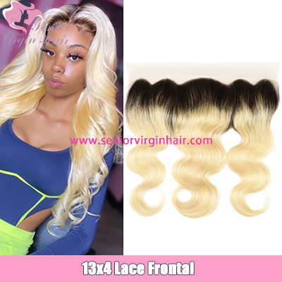 Brazilian 1B/613 Ombre Blonde Color Lace Frontal 13x4 Swiss Lace Frontal