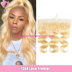 Brazilian Body Wave 100% Human Hair #613 Blonde Straight Hair 13*4 Lace Frontal Pre plucked Baby Hair