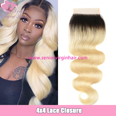 Brazilian Hair Ombre Blonde 1B/613 Color 4*4 Lace Closure Body Wave Silky Straight Swiss Lace Closure