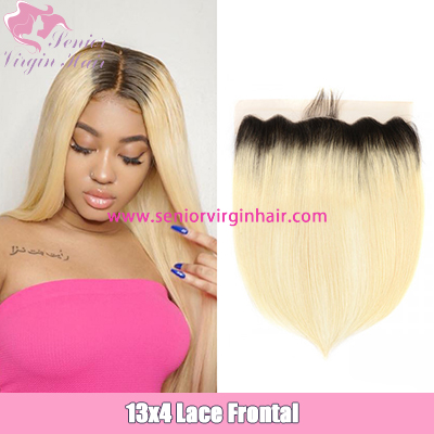 Ombre Straight Hair 1B/613 Color 13*4 Ear To Ear Lace Frontal Closure