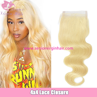 Brazilian Hair Blonde #613 Body Wave Silky Straight 4*4 Lace Closure Swiss Lace Closure
