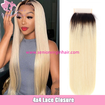 1B/613 Color Straight Ombre Hair 4x4 Lace Closure Brazilian Human Hair