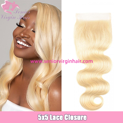 613 Hair Color 5x5 Lace Closures Blonde Body Wave Closure Swiss Lace