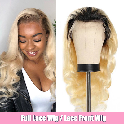 1B/613 Ombre Blonde Body Wave Wigs Blonde With Dark Roots Lace Front Wigs Full Lace Wig