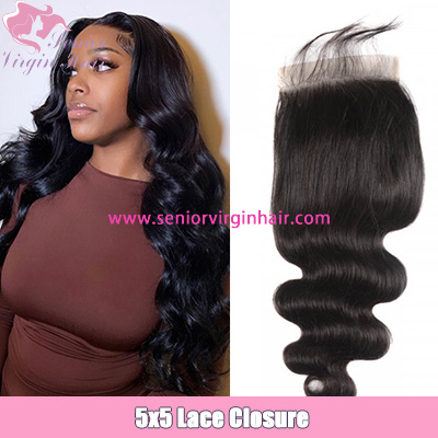 Brazilian Body Wave 5*5 Lace Closure Human Hair Swiss Lace Closure With Baby Hair