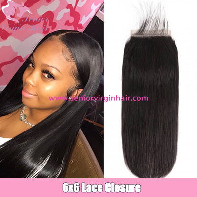 Straight Hair 6x6 Lace Closure Brazilian Human Hair Swiss Lace Closure With Baby Hair